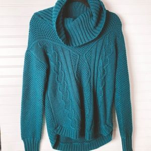 Great Northwest Knit Teal Cowl Neck Sweater Medium